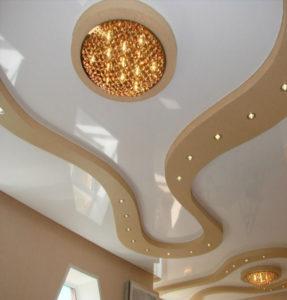 Двухуровневые потолки золото