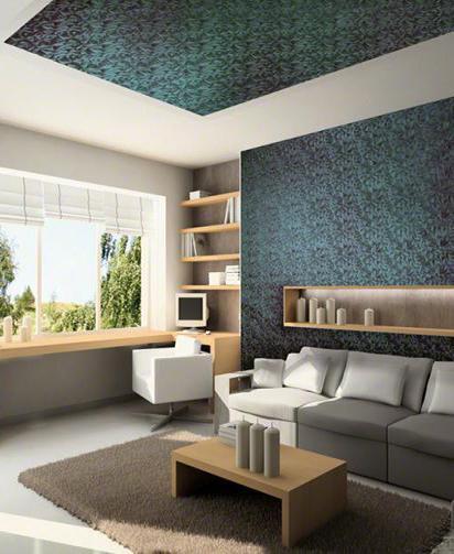 фактурный потолок в гостиной