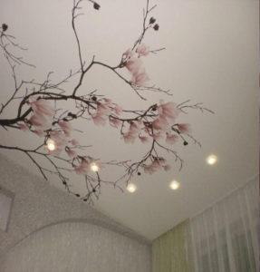 фотопечать сакура на потолке