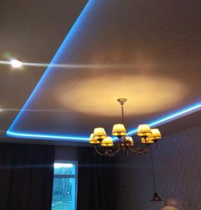 спальня потолок с подсветкой синей