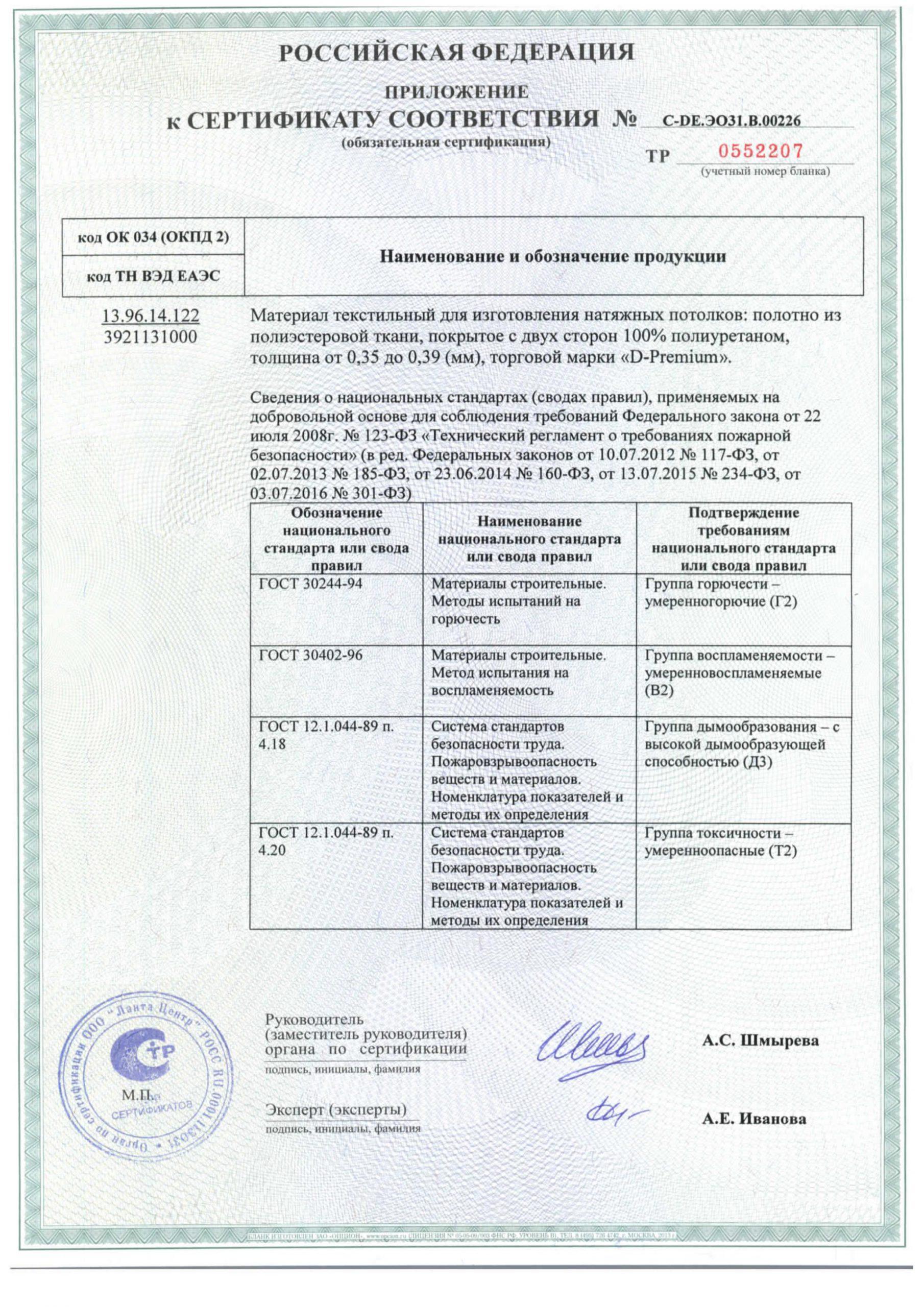 сертификат на потолки