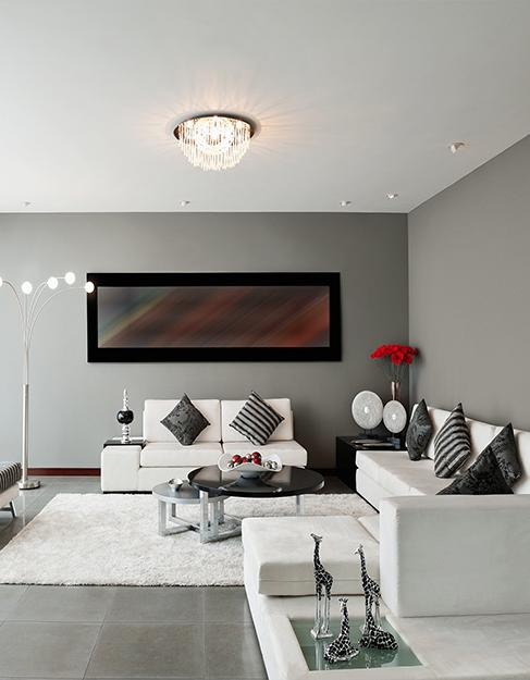 Тканевый белый натяжной потолок Сlipso в гостинную
