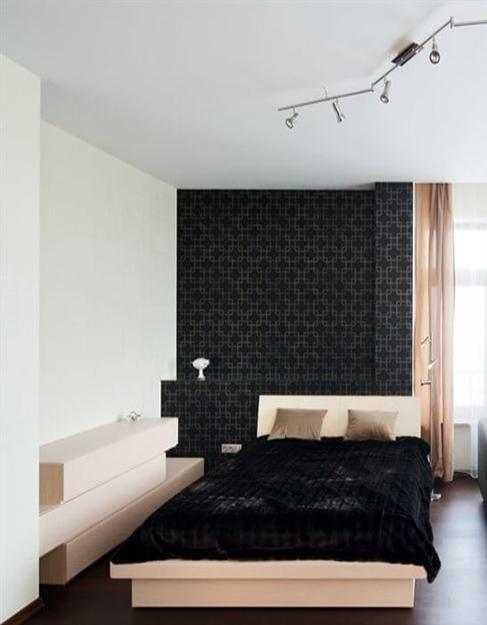 Тканевый белый натяжной потолок Сlipso в спальню