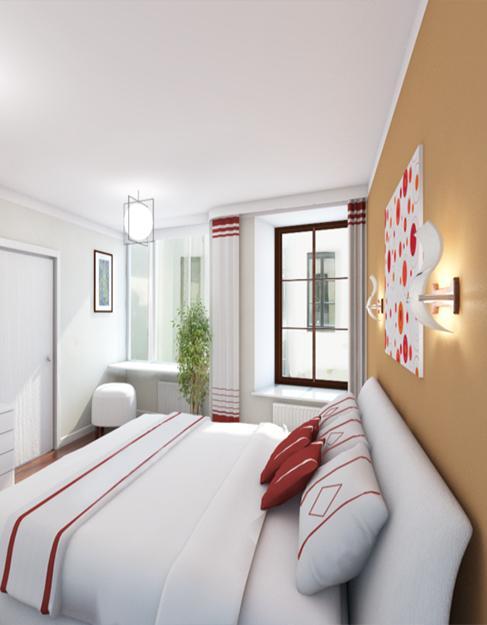 Тканевый белый натяжной потолок Cerruti в спальню