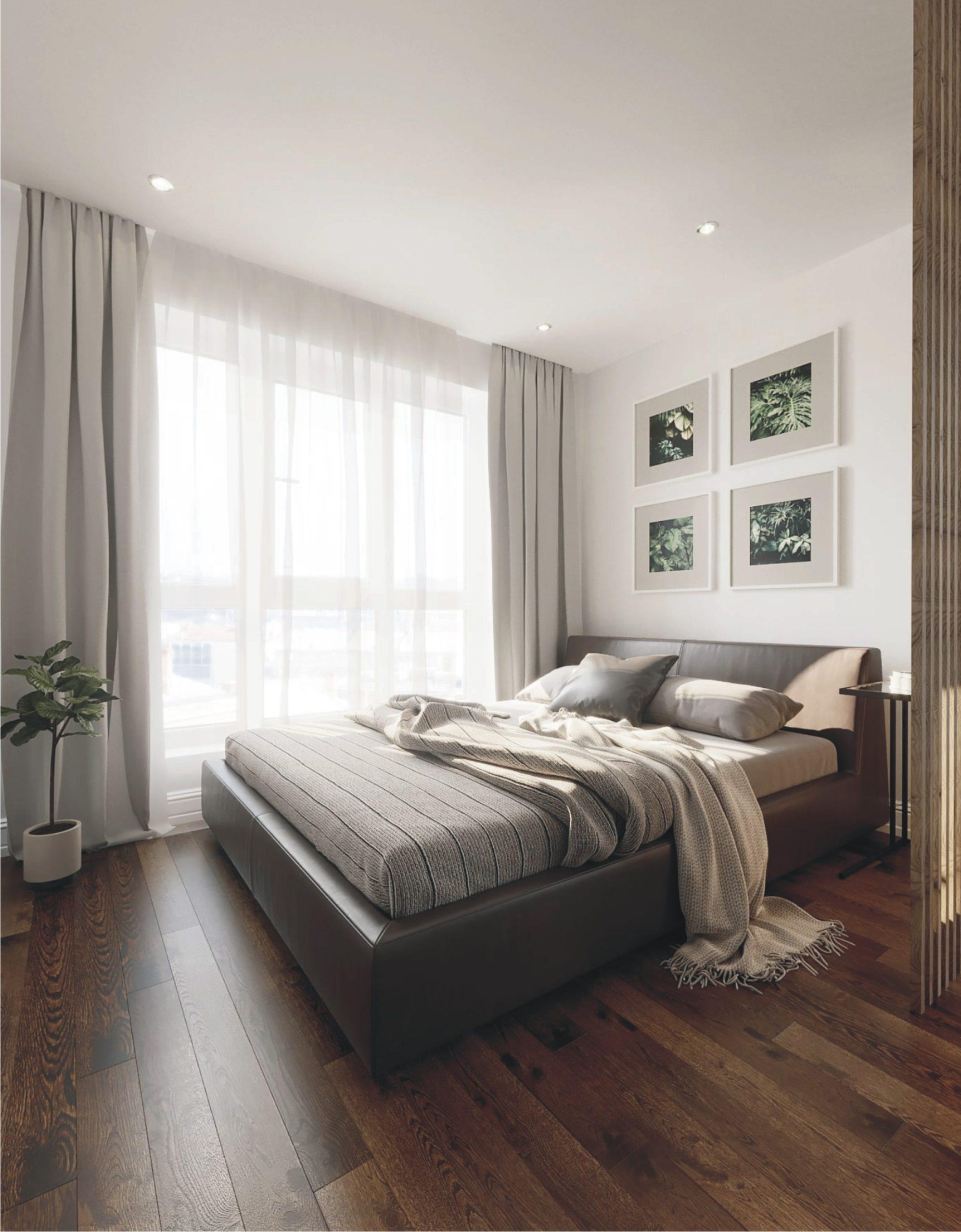 классический натяжной потолок в спальне