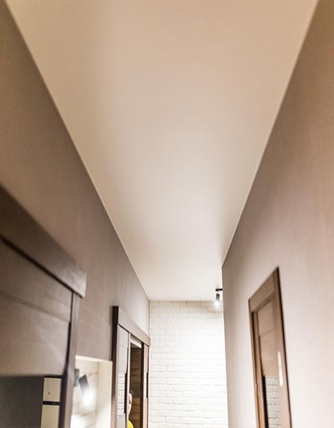 Прихожая матовый белый потолок