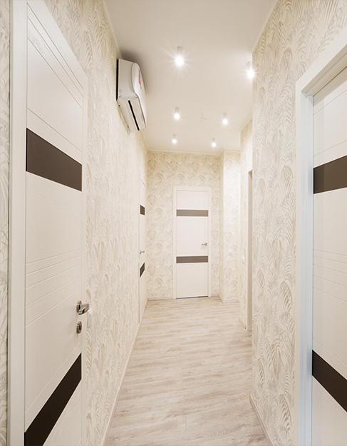 Тканевый белый натяжной потолок в прихожую Descor